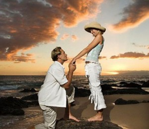 Man proposing on one knee