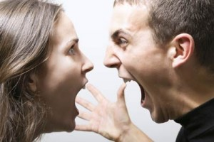 Couple screaming at one anothr