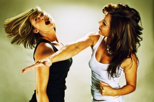 Women play fighting