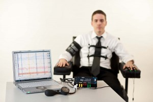 Man hooked up to lie detector