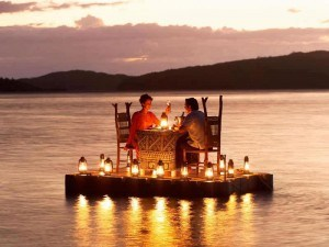 Romantic date on a lake
