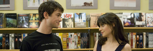 Cute man and woman in book store