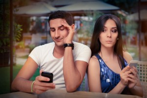 Woman curious over man's texts
