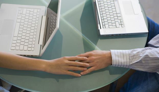 Couple reaching out online