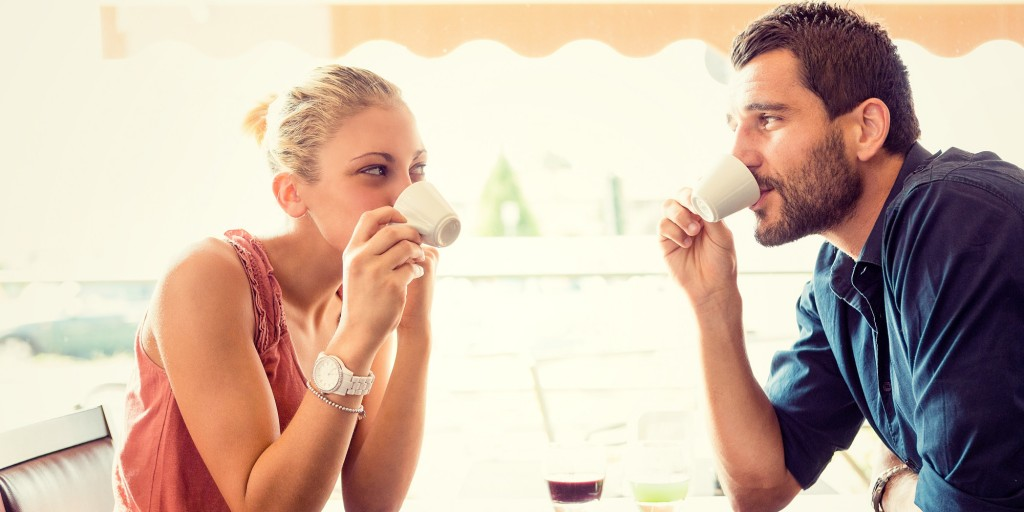 Man and woman enjoying a cup together