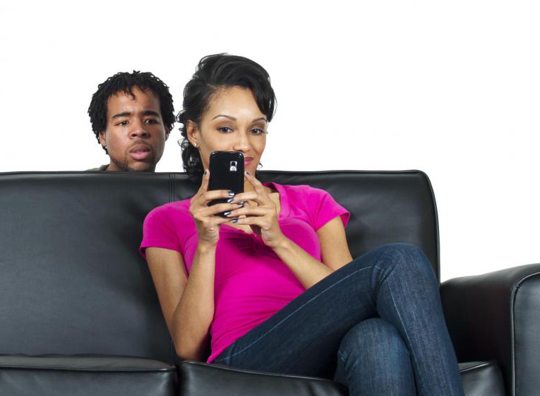 Man checking out wife's phone activity