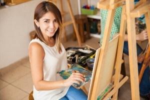 Woman enjoying painting