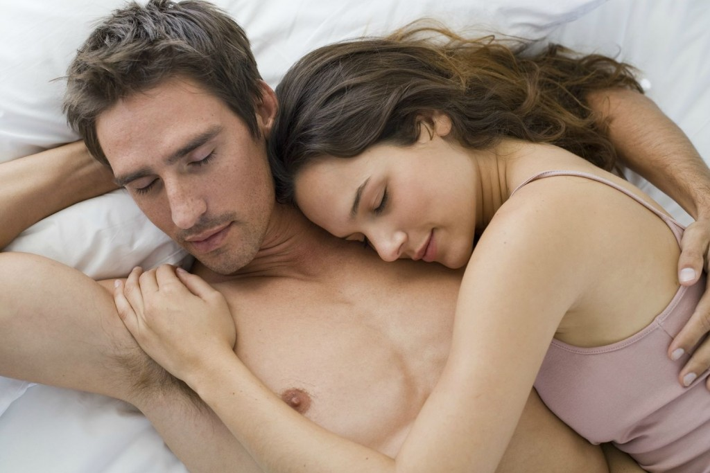 Couple sleeping closely