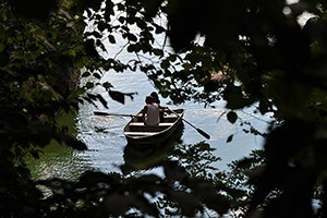 Couple rowing together.