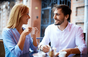 man and woman on a coffee date