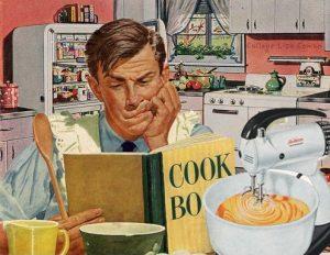 cartoon of a man reading a cook book