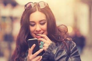 woman texting cute