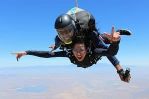 skydiving woman