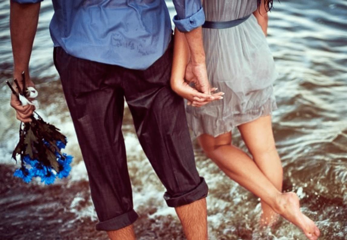 couple in ocean